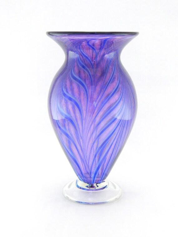 Hand Blown Art Glass Vase - Purple and Bright Aqua Blue