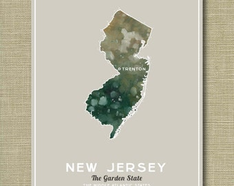 New Jersey State - Illustrated States of America 11 x 14