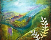 Original Abstract Landscape Painting Expressive Mixed Media Painting  Canvas,  Home Office Decor, Vermont