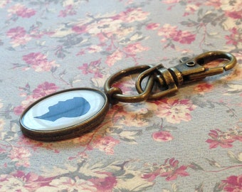 Antiqued Brass Keychain with Your Child or Pet's Custom Silhouette
