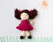 Reserved for Fiona... Cute little girl doll, brown hair, pigtails / bunches