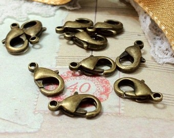 10 mm x 5 mm Antiqued Bronze Lobster Clasps (.mnhg)