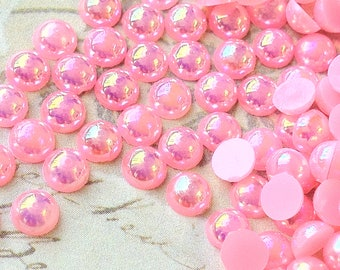 4 mm AB Light  Pink  Colour  Flat Back Pearl Cabochons (.cm)