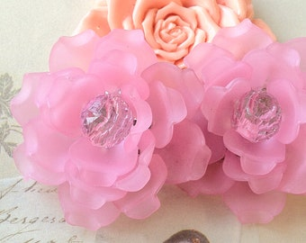 46 mm Pink Color Matte Frosted Translucent Resin Flowers (t.s)