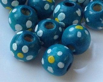 10 mm Blue Colour Dot Dot Wooden Beads (.mn)