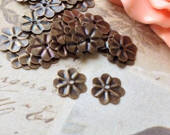 9.5 mm Antique Bronze Filigree Bead End Caps (.mtsg)