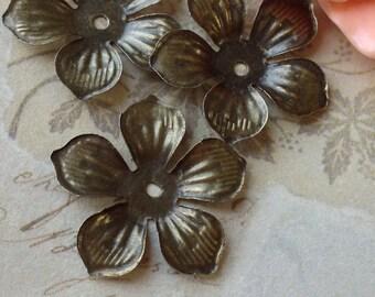 21 mm  Antique Bronze Filigree Flower Base Settings (.mc)