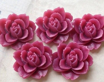 19 mm x 18 mm Resin Peony Flower Cabochons (.am)