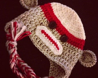 Crochet - SOCK MONKEY HAT with earflaps