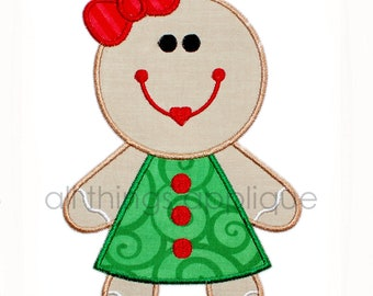 Gingerbread Girl Applique - Christmas Applique Design - 3 Sizes - INSTANT DOWNLOAD
