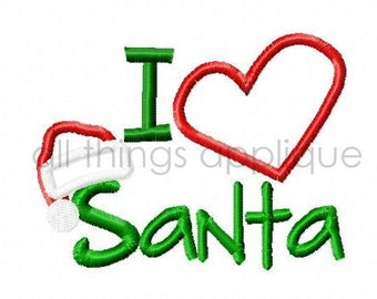 I Heart Santa - Christmas Applique Designs - 3 Sizes - INSTANT DOWNLOAD