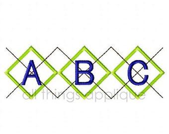 ABC and 123 Argyle Applique Design - 3 Sizes - Back to School Applique - INSTANT DOWNLOAD