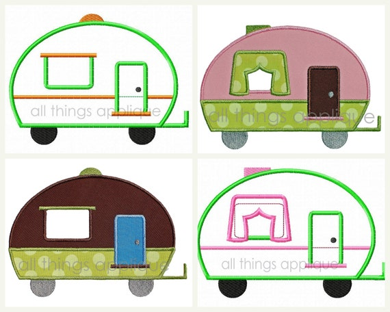 Camper AND Curtain Camper Applique Design - Machine Embroidery - INSTANT DOWNLOAD