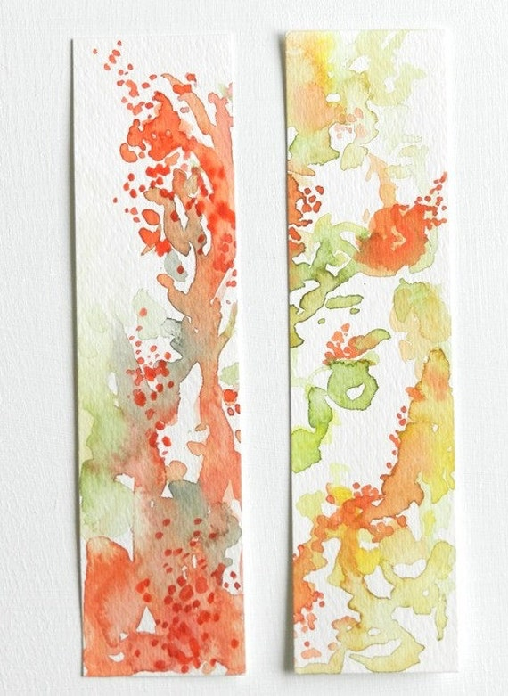 Set of Two Original Abstract Watercolor Bookmarks