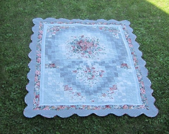 Quilt Watercolor Rose Heart Hand Quilted and Machine Quilted