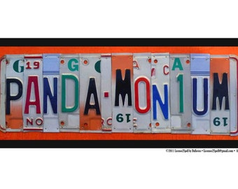 PANDA-MONIUM POSTER-- custom recycled license plate Poster print sign by LICENSE2SPELL