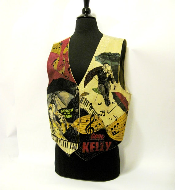 RESERVED FOR TERRIE Hand Illustrated Vest - Singin in the Rain