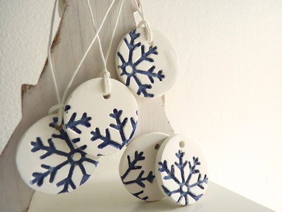 Porcelain snowflake ornaments with XL snowflakes.