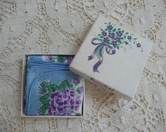 Sweet Violets -- Boxed Blue Hankie --  Handkerchief -- Pettifold -- Hankie With Violets