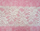 Wide Stretch Lace Trim --White -- 3.5  inch -- 1 YARD