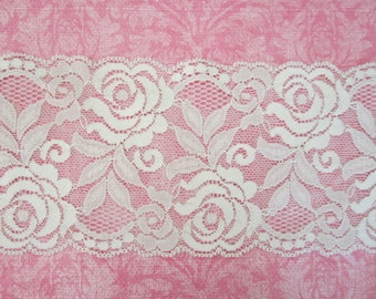 Wide Stretch Lace Trim --White -- 3.5  inch -- 1 YARD