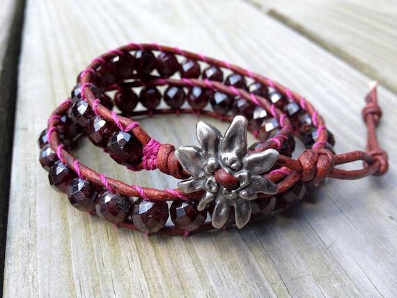 Garnet Beaded leather double wrap bracelet, double wrap, Garnet bracelet, Gemstone bracelet,