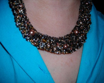 Glittery woven beadwork necklace - Sale 10% off