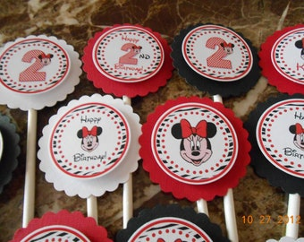 Minnie Mouse Cupcake Toppers-Minnie Mouse Birthday Cupcake Toppers-Minnie Mouse Birthday Decoration-Minnie Mouse Decoration-Red and Zebra