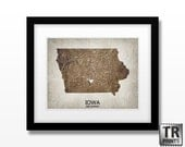 Iowa State Map Art Print - Home Town Heart Map - Original Custom Map Art Print Available in Multiple Size and Color Options