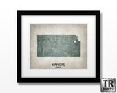 Kansas State Map Art Print - Home Town Love Heart Map - Original Custom Map Art Print Available in Multiple Size and Color Options