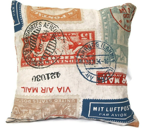 Passport Linen Pillow Throw Cover - Decorative Traveler Stamp Pillow Cover in Red Blue Gold 16x16