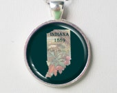 Indiana Map Necklace- State Silhouette Map Design of Indiana, Map Design Series