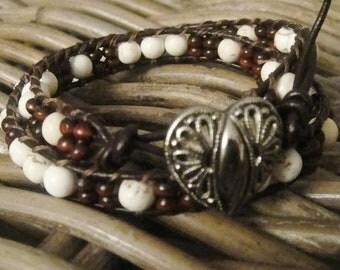 Energy bracelet,  Double wrap leather bracelet, Gemstone magnesite and wood leather bracelet