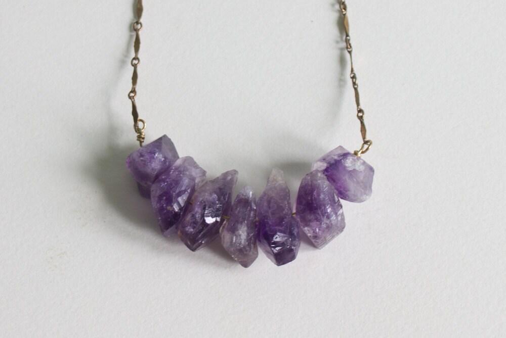 Raw Amethyst Crystal Necklace Purple Rough Amethyst Chunks on
