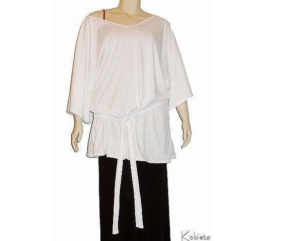 Plus Size Tunic-Yoga Oversized Shirt -On/Off Shoulder-Belt Option-All Natural Fiber Jersey-Made to Order Size-ChooseColor -XL,2X,3X,4X,5X,6X