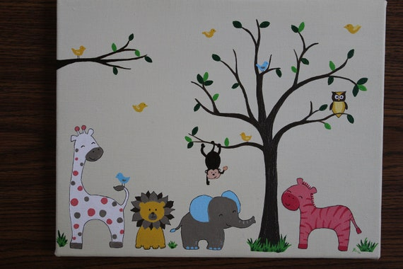 items similar to baby girl or baby boy jungle themed baby room decor painting made to order on. Black Bedroom Furniture Sets. Home Design Ideas