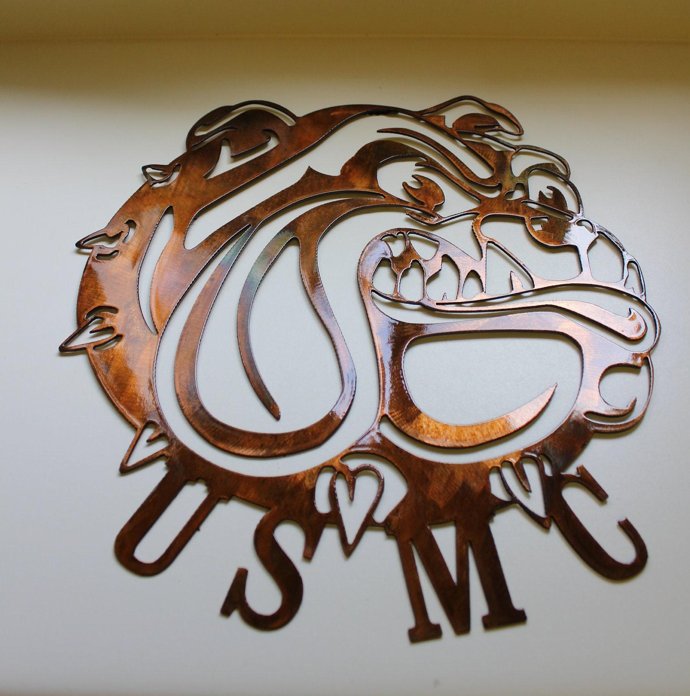 Metal Wall Decor Etsy : Usmc bulldog symbol metal wall art decor by