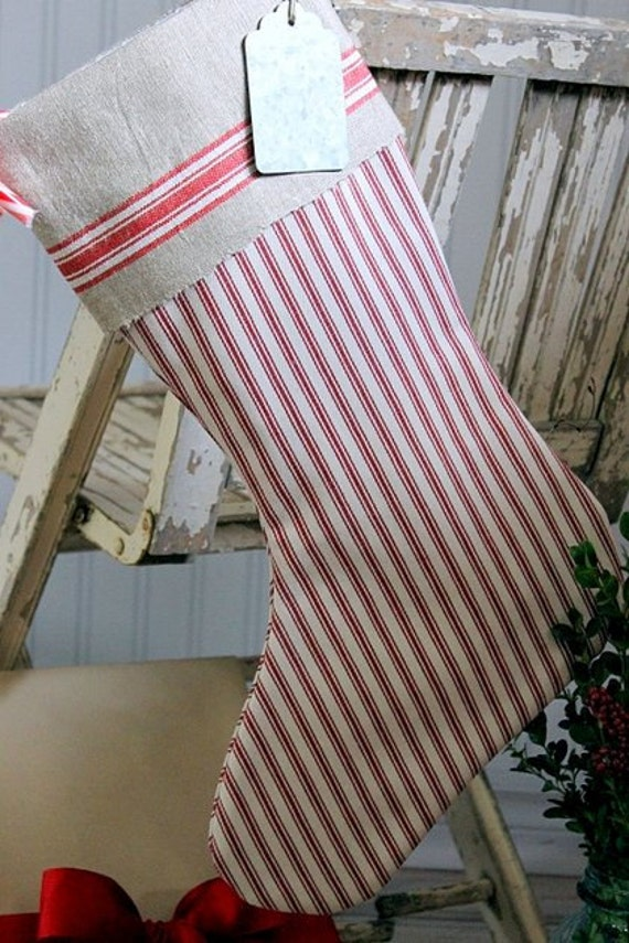 christmas stocking red pottery barn ticking by. Black Bedroom Furniture Sets. Home Design Ideas