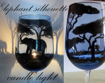Hand painted elephant wine glasses