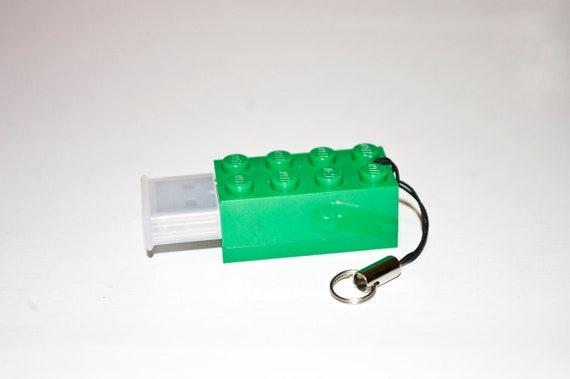 128GB Green 2x4 Brick USB Flash Drive with tiny lanyard