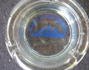 Vintage Alaska Marine Highway Glass Ashtray-ship graphics in middle