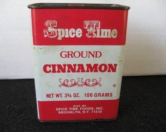 Vintage Collectible Spice Time Ground Cinnamon Spice Tin