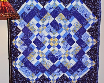 Lap quilt, pieced, bargello