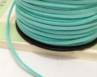 32ft -10 meters of Light Blue Korean Cashmere Imatation Leather Suede Cord 2mm