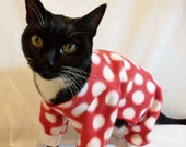 Cat Pajamas Large Polkadot Fleece Cat Pajamas   Several Colors Available