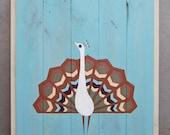 ON SALE - Reclaimed Wood Geometric Peacock Painting