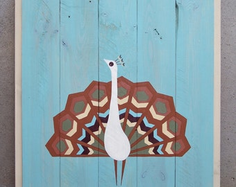 ON SALE - Reclaimed Wood Geometric Peacock Painting