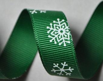 Snowflakes Green Grosgrain - 5 yards, 5/8 inch wide