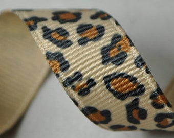 Leopard Print Grosgrain Ribbon- 3 Yards - 5/8 inches wide