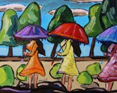 Rain Forecast Original Umbrella Girls Landscape John Williams art JMW  Expressionism